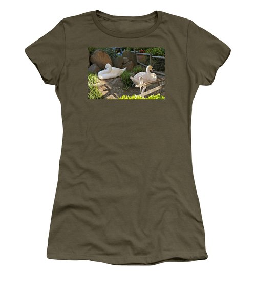 Women's T-Shirt (Athletic Fit) featuring the photograph Resting Swan Mates by Michele Myers