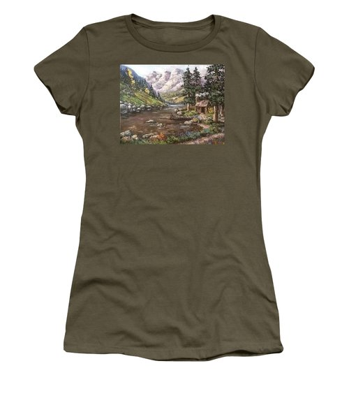 Women's T-Shirt (Junior Cut) featuring the painting Retreat by Megan Walsh