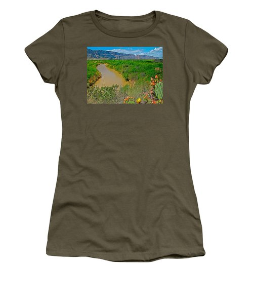 Rio Grande East Of Santa Elena Canyon In  Big Bend National Park-texas Women's T-Shirt (Athletic Fit)