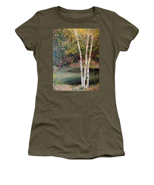 Women's T-Shirt (Junior Cut) featuring the painting River Birch by Alan Lakin