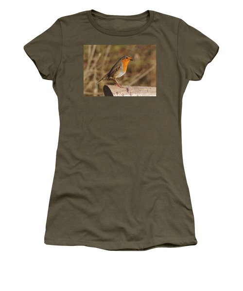 Women's T-Shirt featuring the photograph Robin On A Log -2 by Paul Gulliver