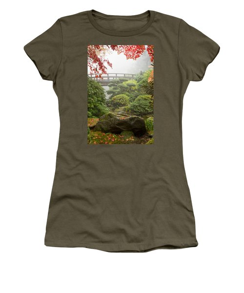 Women's T-Shirt (Junior Cut) featuring the photograph Rock And Bridge At Japanese Garden by JPLDesigns