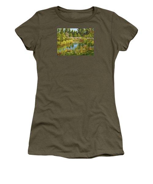 Rock Valley Pond Rockford Il Women's T-Shirt (Junior Cut) by Alexandra Maria Ethlyn Cheshire