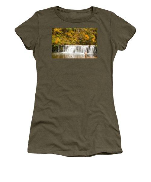 Women's T-Shirt (Junior Cut) featuring the photograph Rockbridge Fisherman by Steven Bateson