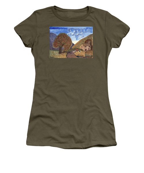 Women's T-Shirt (Junior Cut) featuring the painting Romantic Walk by Tracey Williams