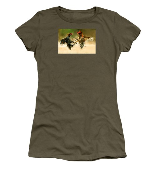 Rooster Fight Hd Women's T-Shirt (Athletic Fit)