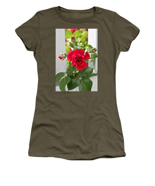 Women's T-Shirt (Junior Cut) featuring the photograph Roses Are Red by Joann Copeland-Paul
