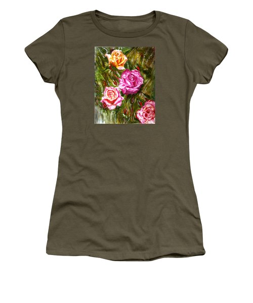 Women's T-Shirt (Junior Cut) featuring the painting Roses by Harsh Malik