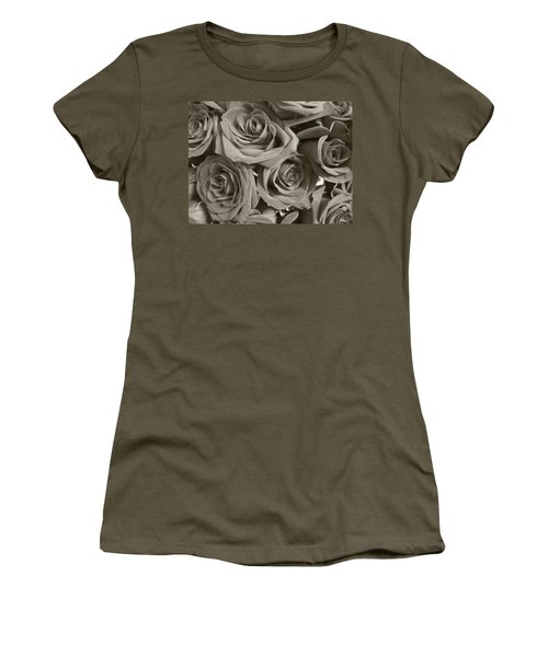 Women's T-Shirt (Junior Cut) featuring the photograph Roses On Your Wall Sepia by Joseph Baril