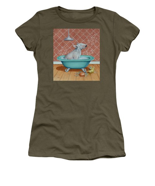 Women's T-Shirt (Junior Cut) featuring the painting Rosie In The Bliss Bubbles by Cynthia House
