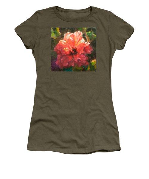 Ruffled Light Double Hibiscus Flower Women's T-Shirt