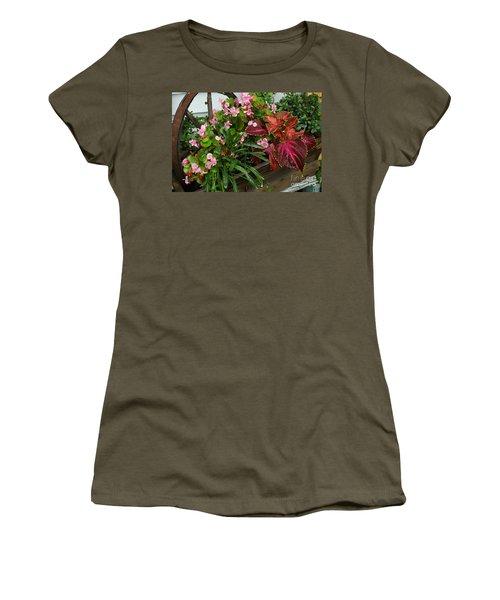 Women's T-Shirt (Junior Cut) featuring the photograph Rustic Garden by Christiane Hellner-OBrien