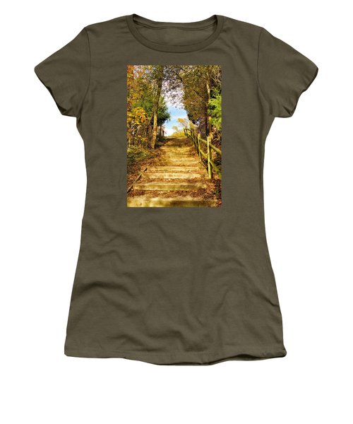 Women's T-Shirt (Junior Cut) featuring the photograph Rustic Stairway by Jean Goodwin Brooks