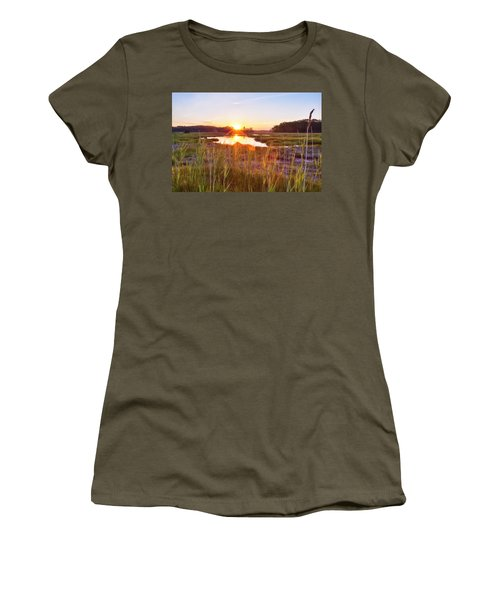 Rye Marsh Sunset Women's T-Shirt (Athletic Fit)