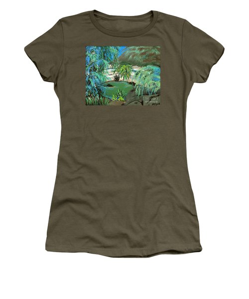 Women's T-Shirt (Junior Cut) featuring the painting Sacred Cenote At Chichen Itza by Alys Caviness-Gober