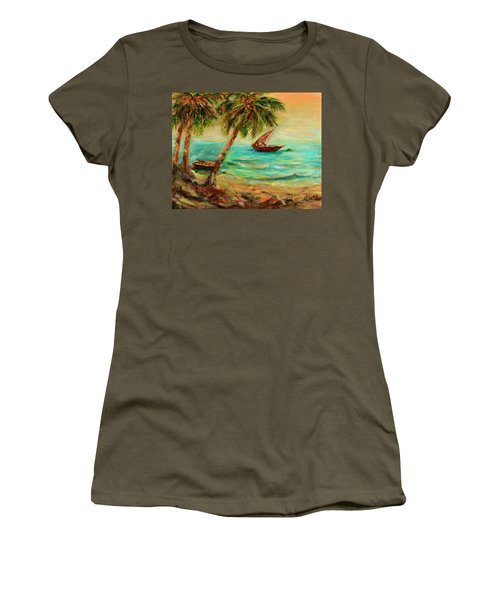 Sail Boats On Indian Ocean  Women's T-Shirt (Athletic Fit)