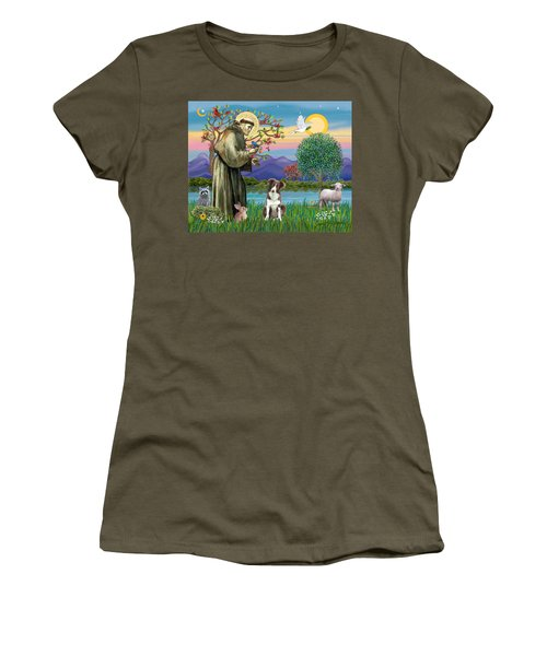 Saint Francis Blesses A Brown And White Border Collie Women's T-Shirt
