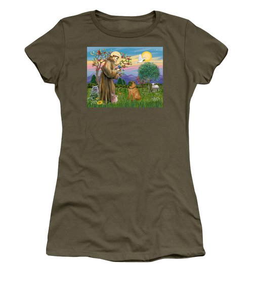 Saint Francis Blesses A Chinese Shar Pei Women's T-Shirt (Athletic Fit)