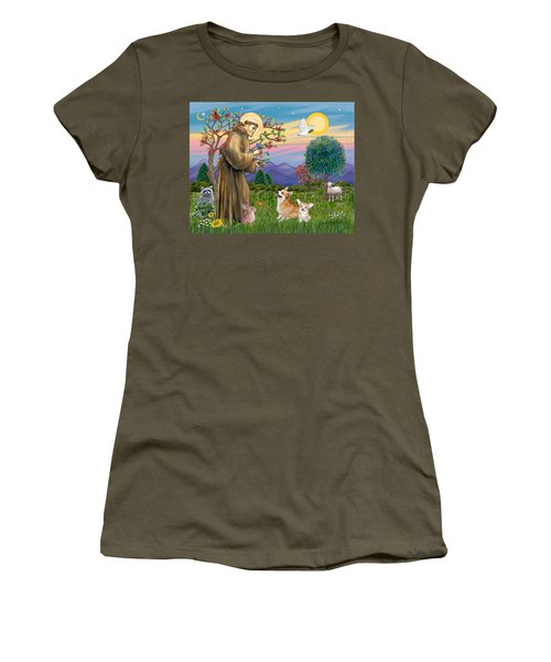Saint Francis Blesses A Corgi And Her Pup Women's T-Shirt