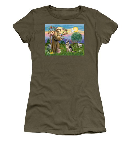 Saint Francis Blesses A German Shepherd Women's T-Shirt