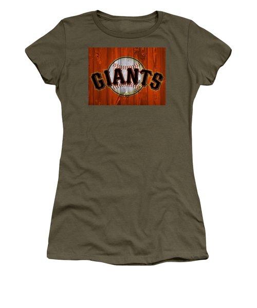 Women's T-Shirt featuring the photograph San Francisco Giants Barn Door by Dan Sproul