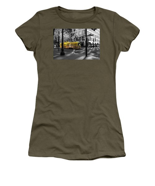San Francisco Vintage Streetcar On Market Street - 5d19798 - Black And White And Yellow Women's T-Shirt