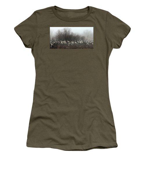 Sandhill Cranes In The Fog Women's T-Shirt