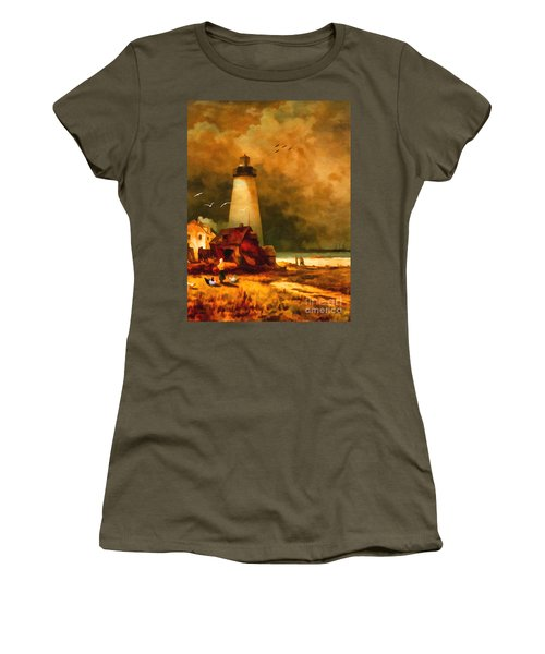 Sandy Hook Lighthouse - After Moran Women's T-Shirt (Junior Cut) by Lianne Schneider