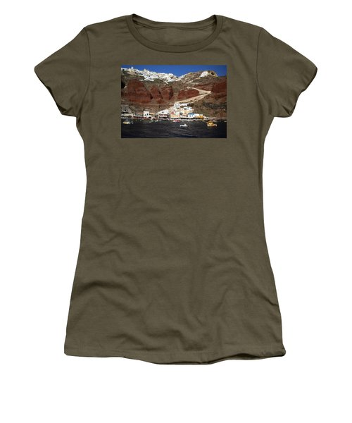 Santorini  Island  View To Oia Greece Women's T-Shirt (Athletic Fit)