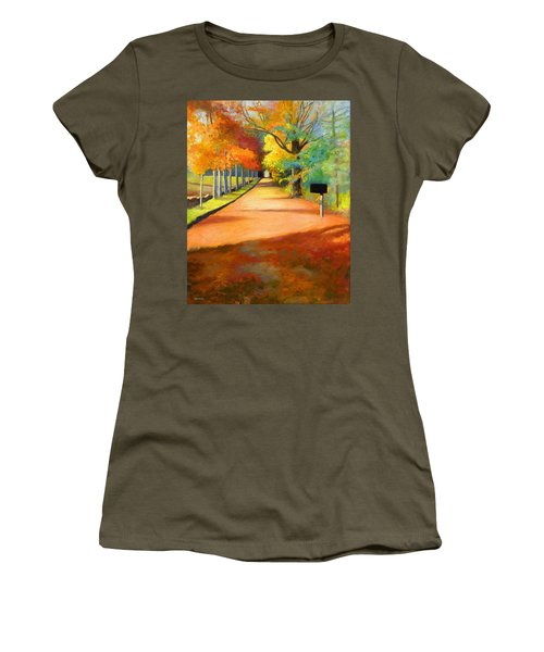 Sawmill Road Autumn Vermont Landscape Women's T-Shirt (Junior Cut) by Catherine Twomey