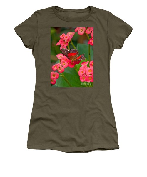 Scarlet Swallowtail Butterfly On Crown Of Thorns Flowers Women's T-Shirt