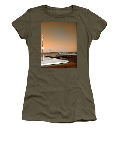 Sea Gulls Watching Over The Wetlands In Orange Women's T-Shirt (Junior Cut) by Amazing Photographs AKA Christian Wilson