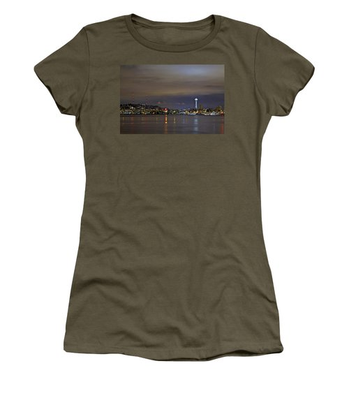 Seattle Cityscape At Night Women's T-Shirt