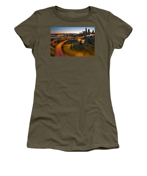 Women's T-Shirt (Junior Cut) featuring the photograph Seattle Downtown Highway Traffic Light Trails by JPLDesigns