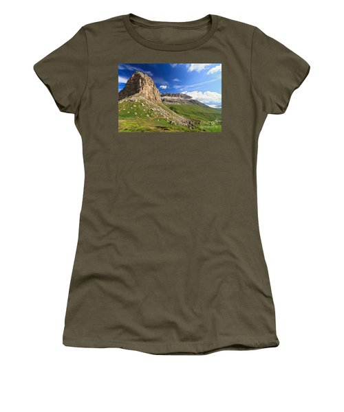 Women's T-Shirt (Junior Cut) featuring the photograph Sella Mountain And Pordoi Pass by Antonio Scarpi