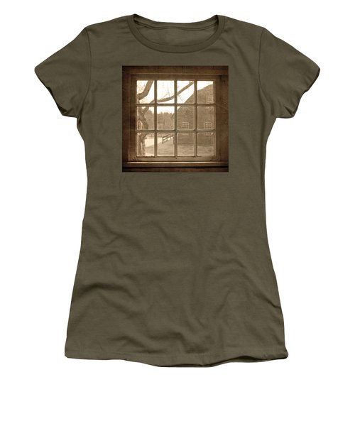 Sepia Colonial Scene Through Antique Window Women's T-Shirt (Athletic Fit)