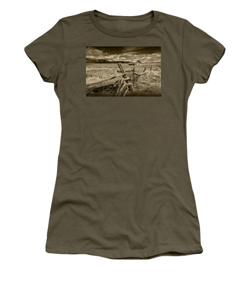 Sepia Colored Photo Of A Wood Fence By The John Moulton Farm Women's T-Shirt