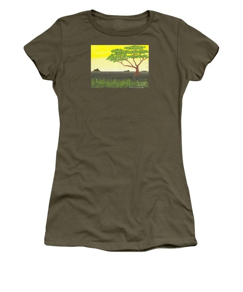 Women's T-Shirt (Junior Cut) featuring the painting Serengeti by David Jackson