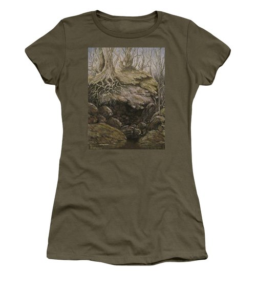 Women's T-Shirt (Junior Cut) featuring the painting Shades Of Froud by Megan Walsh
