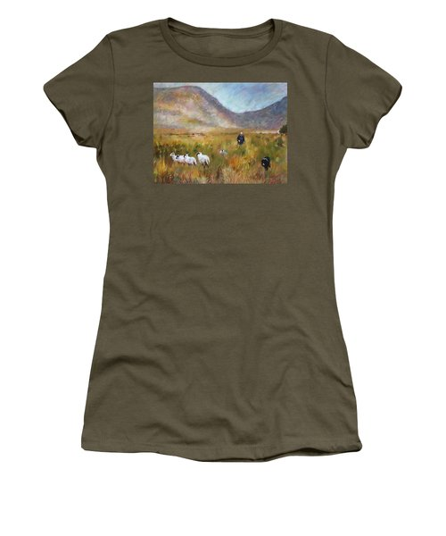 Women's T-Shirt (Junior Cut) featuring the drawing Shepherd And Sheep In The Valley  by Viola El