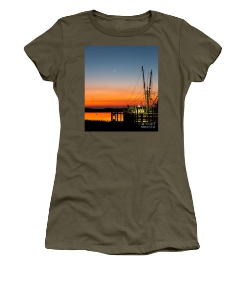 Shrimp Boat At Dusk Folly Beach Women's T-Shirt