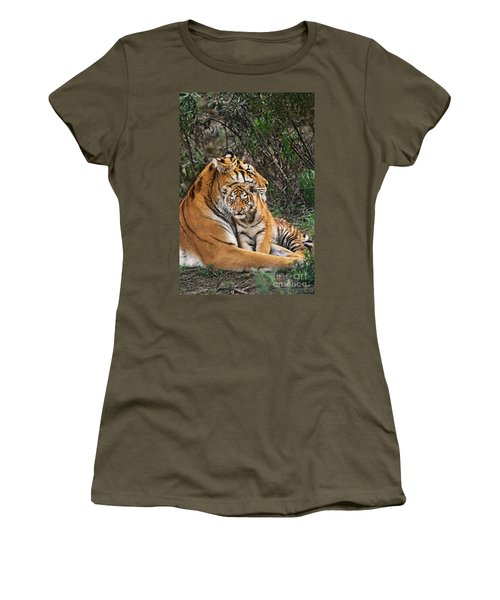 Siberian Tiger Mother And Cub Endangered Species Wildlife Rescue Women's T-Shirt (Athletic Fit)