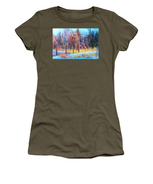 Signs Of Spring - Trees And Snow Kissed By Spring Light Women's T-Shirt (Athletic Fit)
