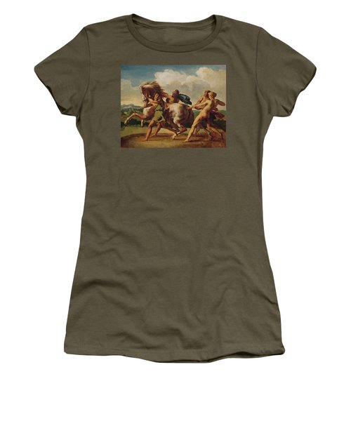 Slaves Stopping A Horse, Study For The Race Of The Barbarian Horses, 1817 Oil On Canvas Women's T-Shirt