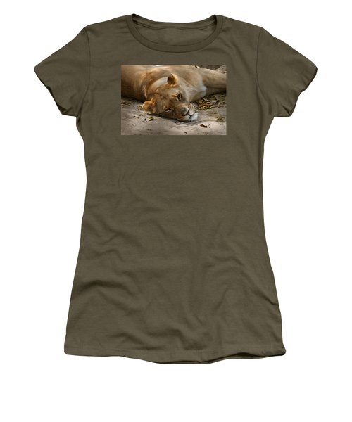 Women's T-Shirt (Junior Cut) featuring the photograph Sleepy Lioness by Ann Lauwers