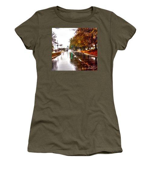 Women's T-Shirt (Junior Cut) featuring the photograph Slick Streets Rainy View by Lesa Fine