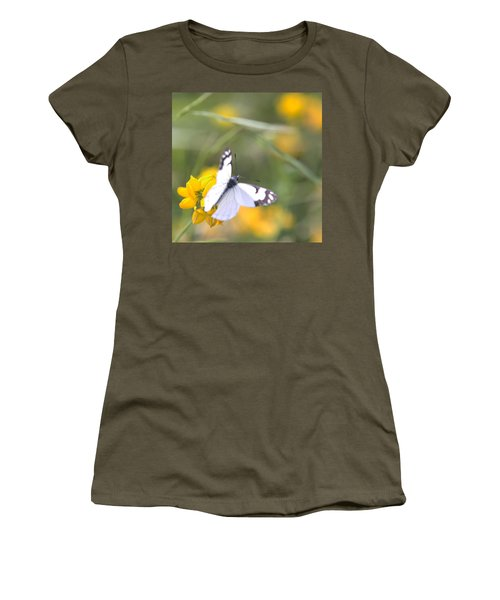 Small White Butterfly On Yellow Flower Women's T-Shirt (Junior Cut) by Belinda Greb