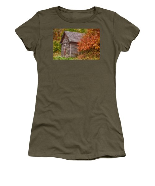 Women's T-Shirt (Junior Cut) featuring the photograph Small Wooden Shack In The Autumn Colors by Jeff Folger