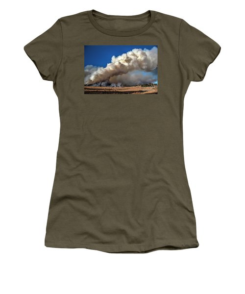 Smoke Column From The Norbeck Prescribed Fire. Women's T-Shirt