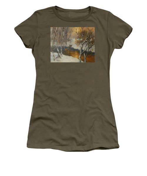 Snow Sunset Paintings Women's T-Shirt